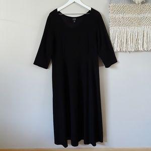 Eileen Fisher Ballet Neck Elbow Sleeve Knit Maxi